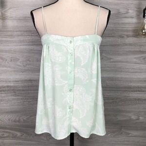 CHARLOTTE RUSSE MINT FLORAL BUTTON-UP TANK